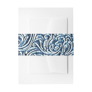 Ocean Blue White Carved Stone Look Coastal Invitation Belly Band
