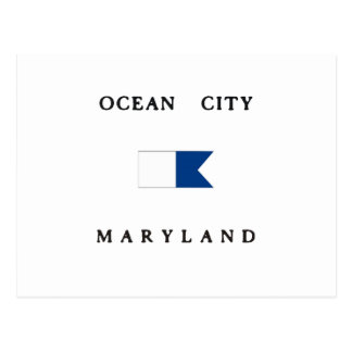 Ocean City Maryland Alpha Dive Flag Postcard