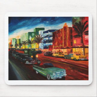 Ocean Drive Miami With Mint Cadillac Mouse Pad