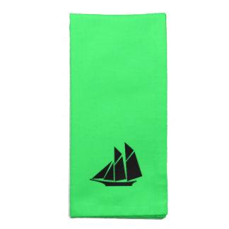 Ocean Glow_Black-on-Green Clipper Ship Napkin