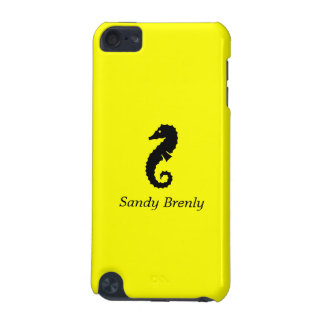 Ocean Glow_Black-on-Yellow Seahorse_personalized iPod Touch 5G Covers