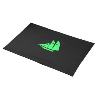 Ocean Glow_Green-on-Black Clipper Ship Placemat