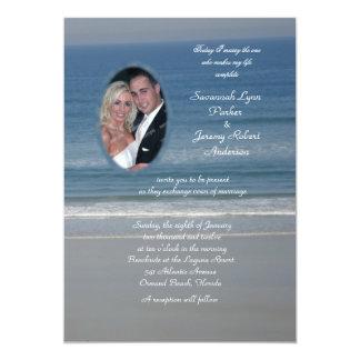 Ocean Love Photo Wedding Card