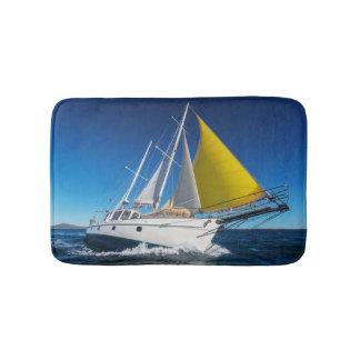 Ocean Sailing In A Yacht Bath Mat