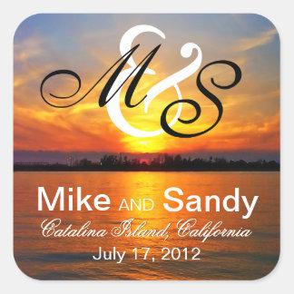 Ocean Sunset Monogram Destination Wedding Square Sticker