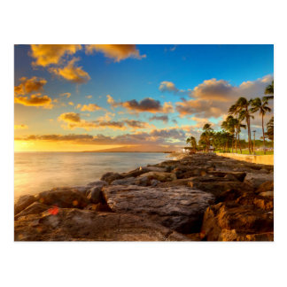 Ocean Sunset Over Rocks And Palm | O'Ahu Postcard