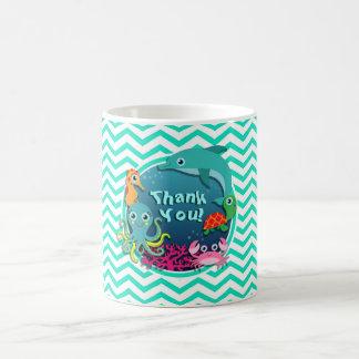 Ocean Theme Baby Shower Aqua Green Chevron Mugs