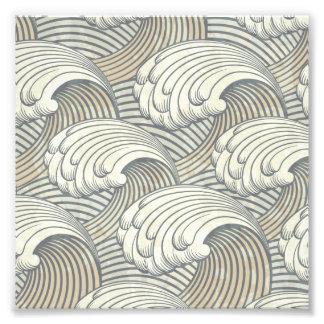 Ocean Waves Pattern Ancient Japan Art Photographic Print