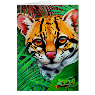 Ocelot in jungle with Red Eye Tree Frog Card