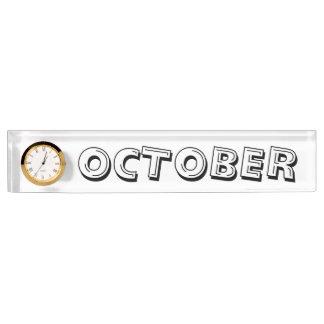 October Alphabet Soup Desk Nameplate by Janz