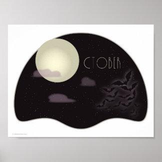 October Art Deco Full Moon with Bats Poster