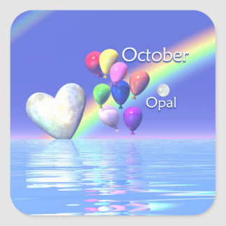 October Birthday Opal Heart Square Sticker