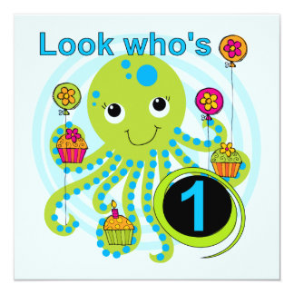 Octopus 1st Birthday T-shirts and Gifts 13 Cm X 13 Cm Square Invitation Card