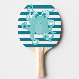 Octopus Blue Bold Stripes Ping Pong Paddle
