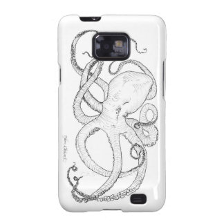 Octopus Ink Drawing Black and White Galaxy SII Cover