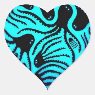 Octopus Pattern Design Heart Sticker
