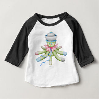 OCTOPUSS BABY CUTE Baby American Apparel 3/4 BLACK Baby T-Shirt