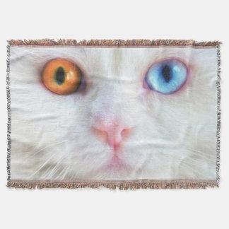 Odd-Eyed White Persian Cat Throw Blanket