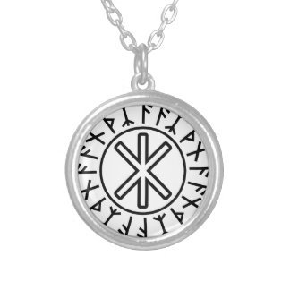 Odin's Protection No.2 (black) Silver Plated Necklace