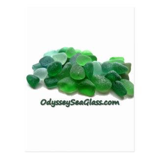 OdysseySeaGlass.com Green Sea Glass w Logo Postcard