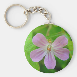 Of pink Weis touched stork bill bloom Basic Round Button Key Ring