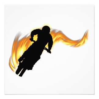 Off Road Dirt Bike with Flames Personalized Invitation