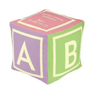 Off WHITE ALPHABET on pastel colored block cube Pouf