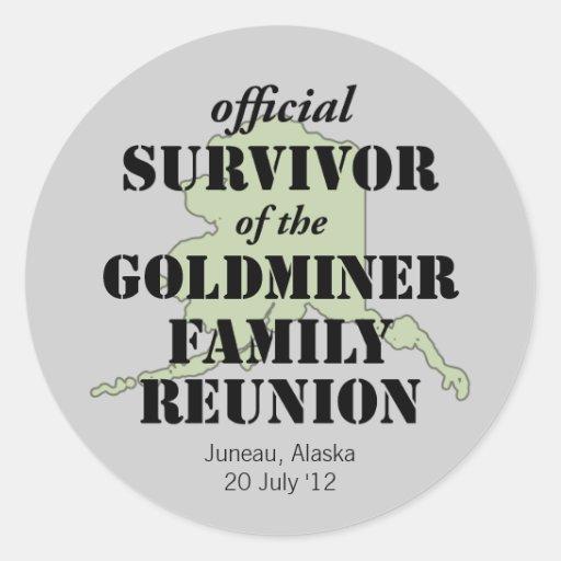 Official Family Reunion Survivor - Alaska Green Round Sticker