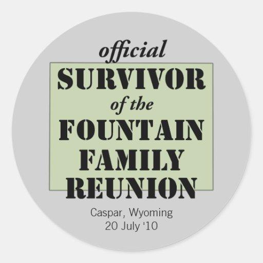 Official Family Reunion Survivor - Wyoming Green Round Sticker