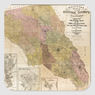 Official map of Sonoma County, California (1900) Square Sticker