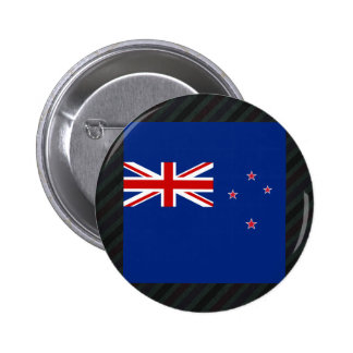 Official New Zealand Flag on stripes 6 Cm Round Badge