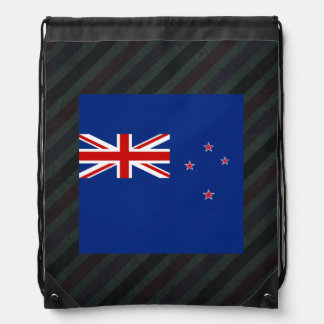 Official New Zealand Flag on stripes Drawstring Backpacks