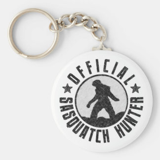 Official Sasquatch Hunter - Bigfoot in B/W Grunge Key Ring