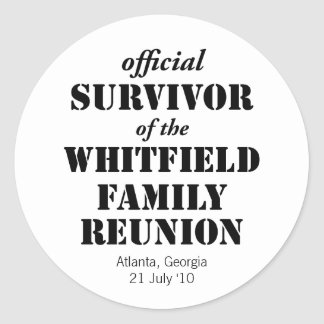 Official Survivor of Our Family Reunion Round Sticker