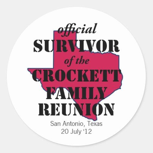 Official Survivor of Texas Family Reunion (red) Round Sticker