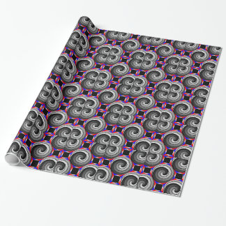 Offset Double Yin Yang Spiral by Kenneth Yoncich Wrapping Paper