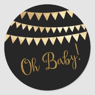 Oh Baby Baby Shower Classic Round Sticker