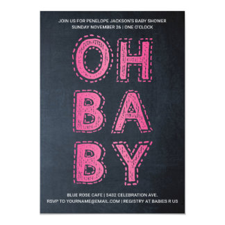 Oh Baby | Baby Shower Invitations | Pink Chalk