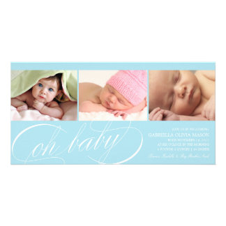 Oh Baby | Blue Birth Announcement Card