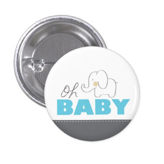 Oh Baby Elephant - Blue & Gray Baby Shower Button