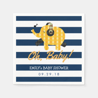 Oh Baby Elephant Navy Blue Stripes Baby Shower Paper Serviettes