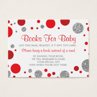 Oh Baby Girl, Bring A Book Card, Faux Glitter Business Card