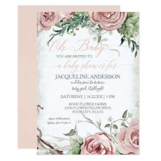 Oh Baby Shower Girl BOHO Watercolor Flower Crown Card
