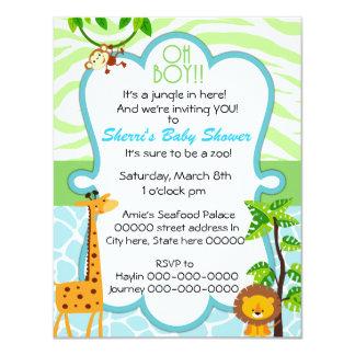 "oh boy animal print baby shower invitation 4.25"" x 5.5"" invitation card"