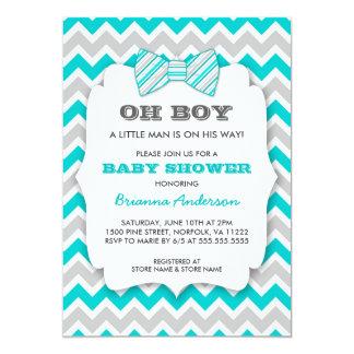 OH BOY Bowtie baby shower / turquoise gray chevron 13 Cm X 18 Cm Invitation Card