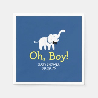 Oh Boy Elephant Navy Blue Baby Shower Disposable Napkins