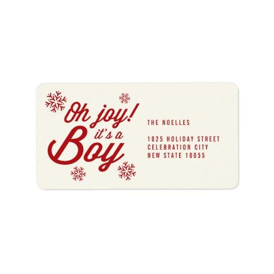 Oh Joy It's a Boy Baby 1st Christmas Address Label