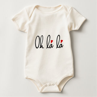 Oh la la, French word art with red hearts Baby Bodysuit