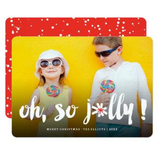 Oh So Jolly! Pom Pom Brush Cute Holiday Photo Card
