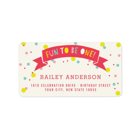 Oh What Fun Colourful Confetti Girl 1st Birthday Label